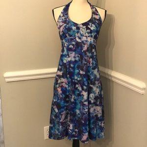 🎾 Athleta Halter Dress Blue Floral Midi Sz 8